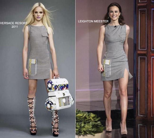 De pe catwalk, direct in garderoba vedetelor: Leighton Meester, intr-o rochie Versace