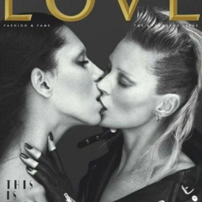 HARD CORE! Kate Moss, sarut cu un transsexual pentru coperta LOVE!