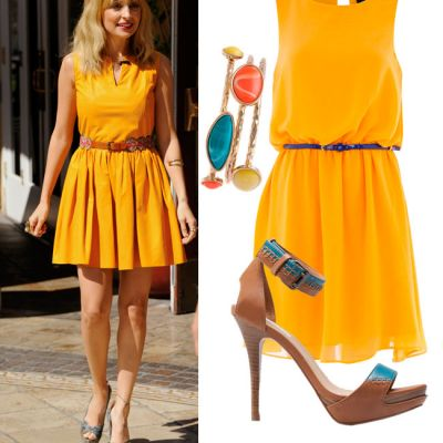 Outfit de vedeta: Nicole Richie iti recomanda rochiile galbene. Imbraca-te ca ea cu buget minim