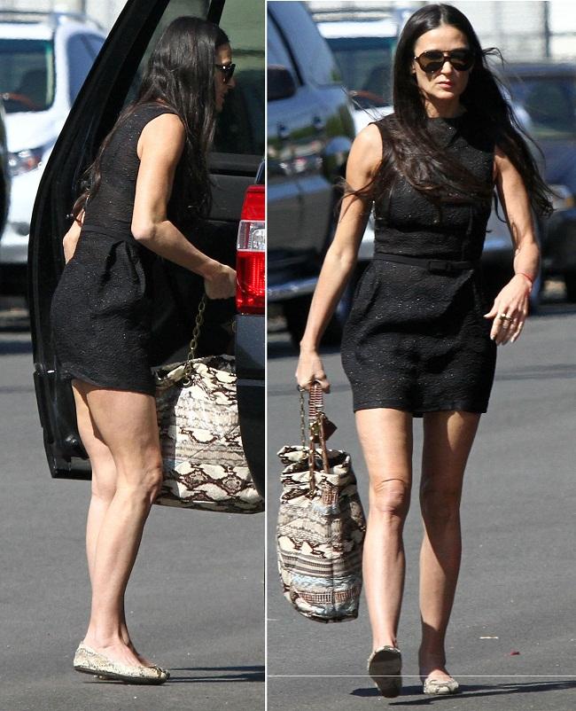 Demi Moore, la prima iesire in public dupa reabilitare. Intr-o rochie scurta, dar slaba si vizibil imbatranita