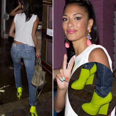Nicole Scherzinger, o explozie de culoare: pantofi galben neon, unghii in nuante diferite si cercei multicolori