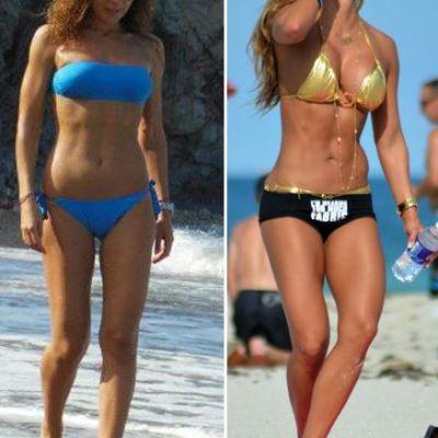 Regina fitnessului de la ei vs. regina fitnessului de la noi. Cine arata mai bine in costum de baie: Jennifer Nicole Lee sau Carmen Bruma?