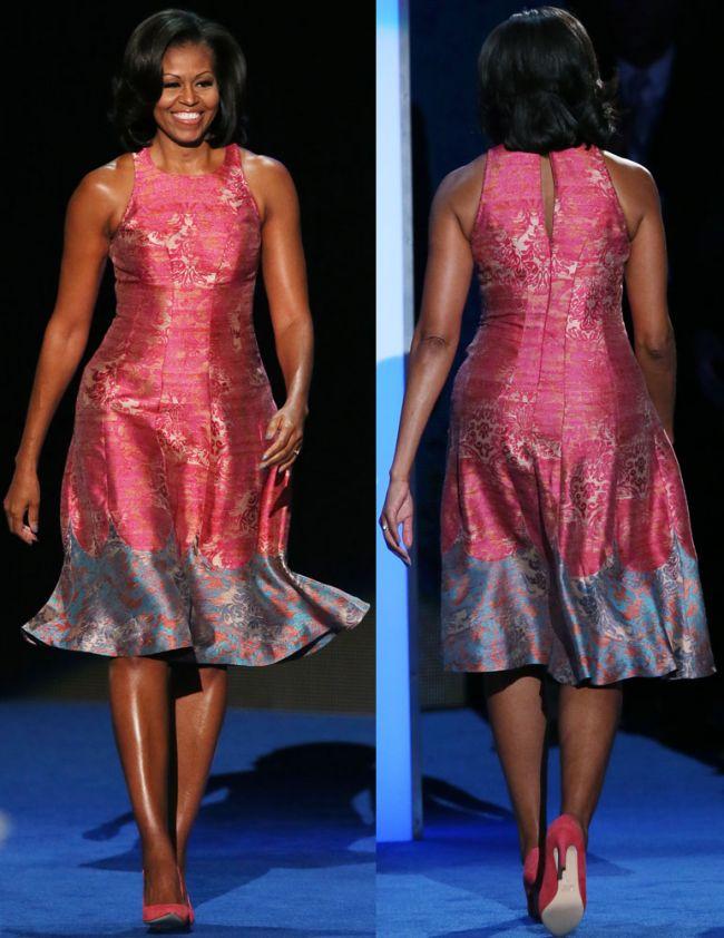 Michelle Obama a impresionat la o conventie democrata cu o rochie roz si un discurs foarte emotionant