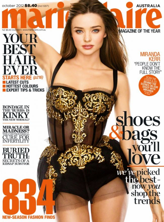 Miranda Kerr, sexy in dantela pe coperta Marie Claire Australia