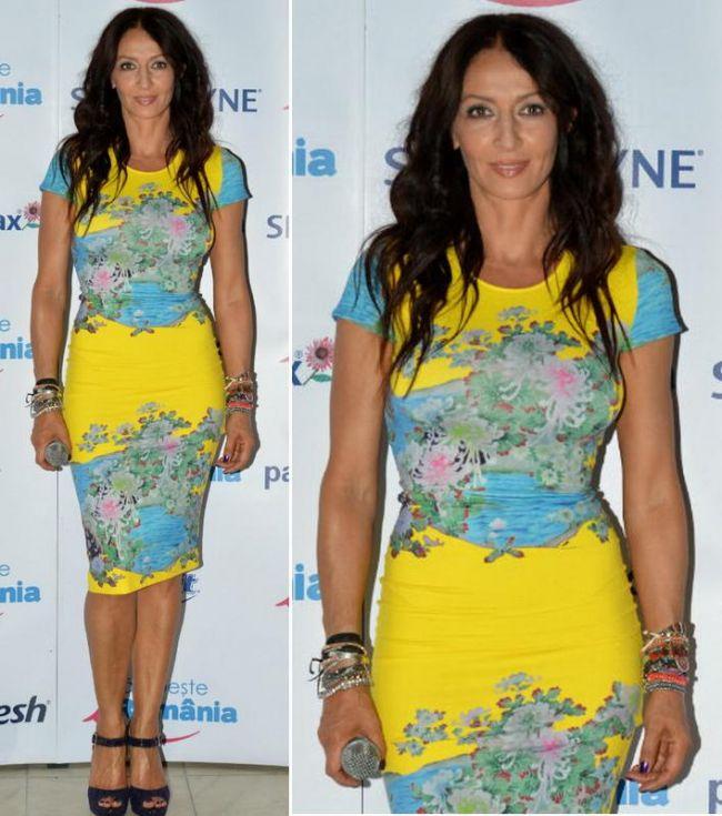 Look-ul zilei: Mihaela Radulescu, superba intr-o rochie galbena cu motive florale