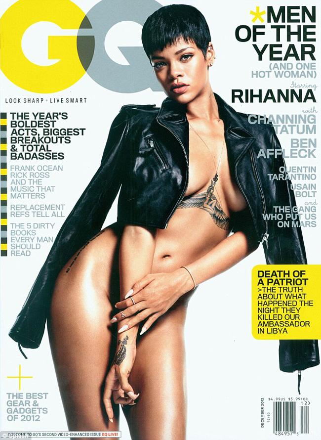 Rihanna a pozat imbracata doar intr-o jacheta de piele pentru revista GQ. Imagini foarte hot!