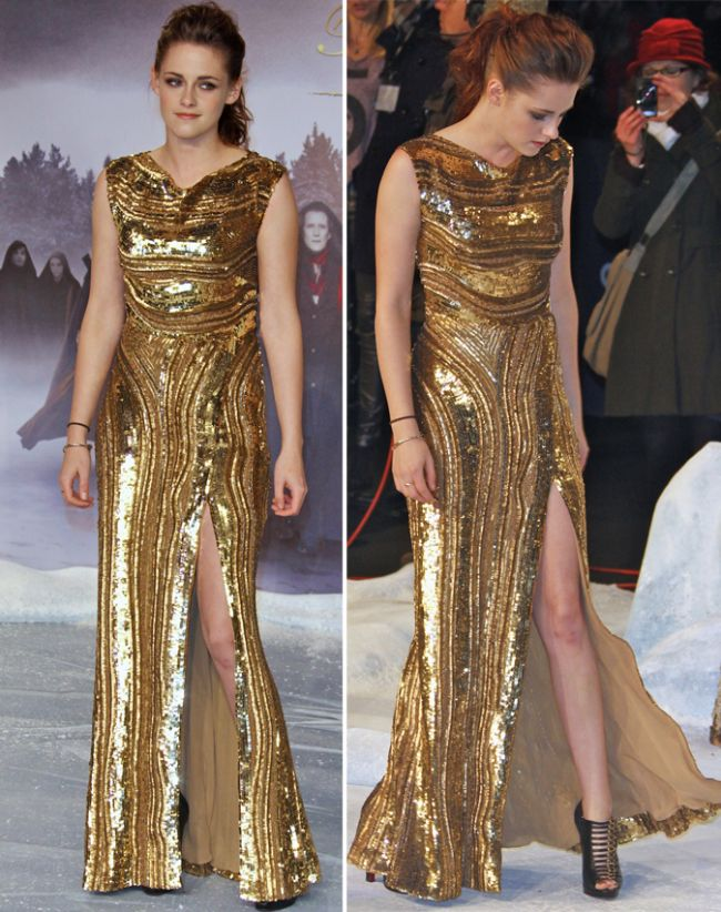 Kristen Stewart, gafa vestimentara la premiera  Twilight  din Berlin: in rochie Elie Saab aurie si cu tenisi in picioare
