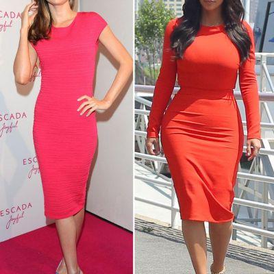 Silueta clepsidra vs silueta snur. Pe cine avantajeaza mai bine rochiile mulate, in nuante de rosu: pe Kim sau pe Miranda?