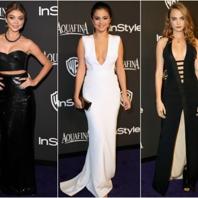 Tinute mai sexy si mai obraznice. Cum s-au imbracat tinerelele Selena Gomez, Sarah Hyland sau Nina Dobrev la petrecerea de dupa Globurile de Aur