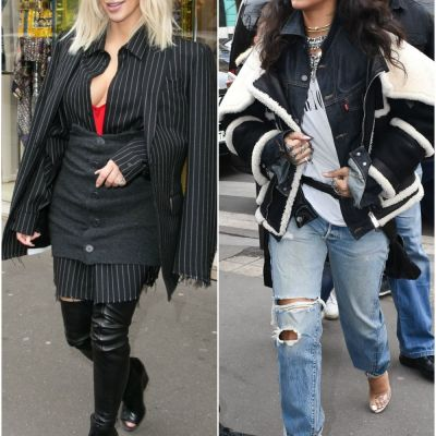 Rihanna si Kim Kardashian au atras toate privirile cu tinutele lor in Paris. Care outfit iti place mai mult?