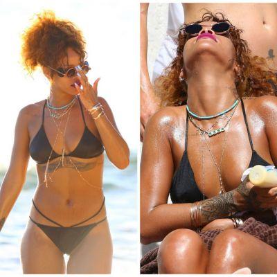 Imaginile care au facut inconjurul internetului: cum hraneste Rihanna pe plaja un pui de maimuta cu biberonul