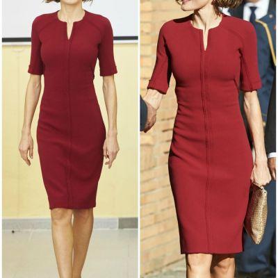 Regina cu silueta de supermodel. Cum arata Letizia intr-o rochie bordo mulata, care ii pune in valoare talia de viespe