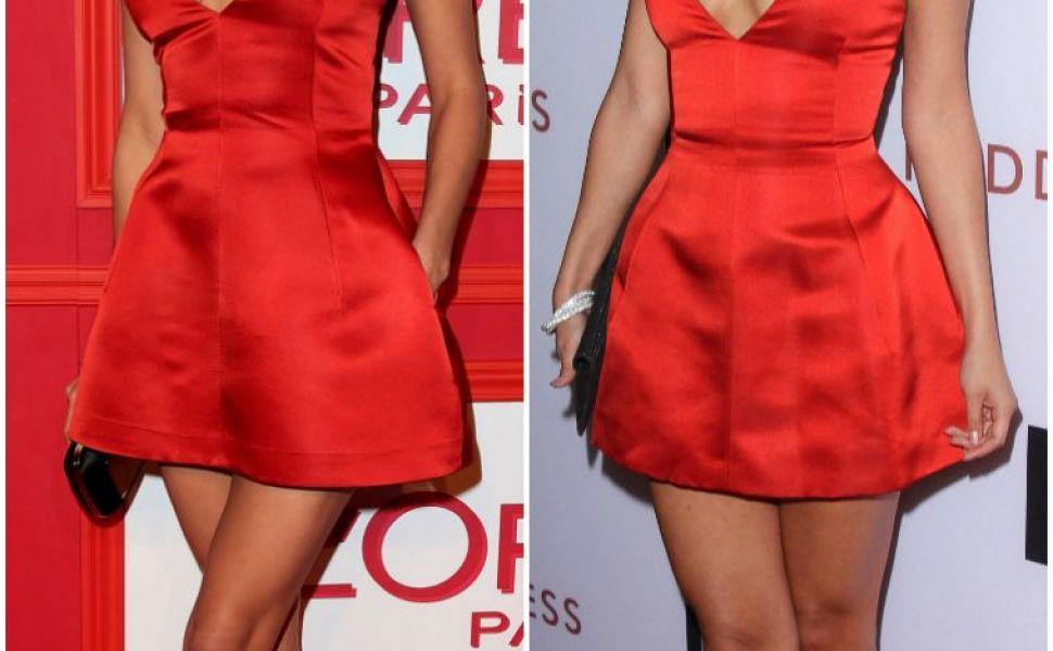 Selena Gomez vs. Irina Shayk: cine arata mai bine intr-o rochie rosie, extrem de scurta, cu decolteu generos