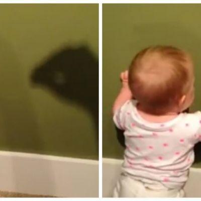 Reactia adorabila a unui bebelus speriat de o umbra. Filmuletul care a devenit viral pe internet
