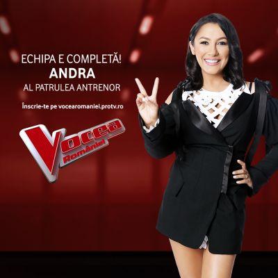 Andra a intrat în echipa Vocea României:  Abia aștept să ajung pe scaunul de antrenor și să apăs butonul pentru cele mai bune voci